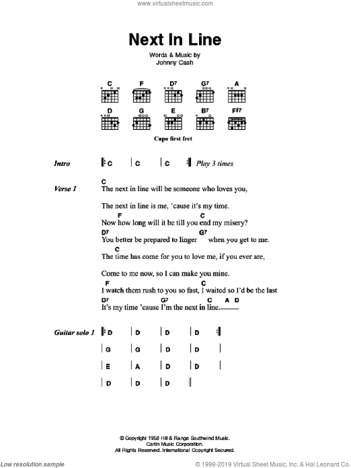 Next In Line sheet music for guitar (chords) by Johnny Cash, intermediate