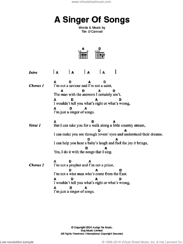 A Singer Of Songs sheet music for guitar (chords) by Thomas J. O'Connell
