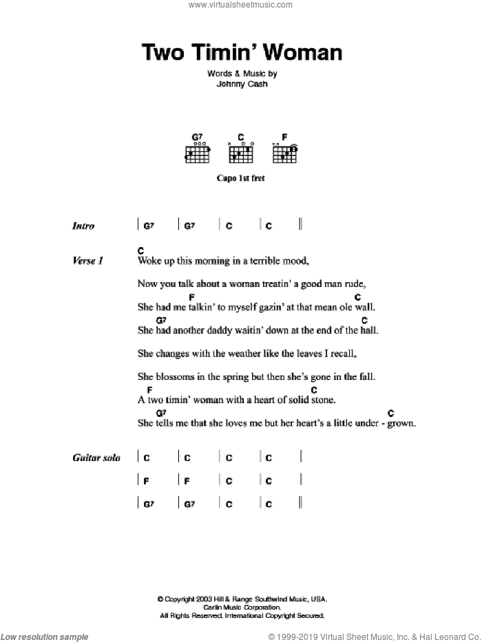 Two Timin' Woman sheet music for guitar (chords) by Johnny Cash, intermediate. Score Image Preview.