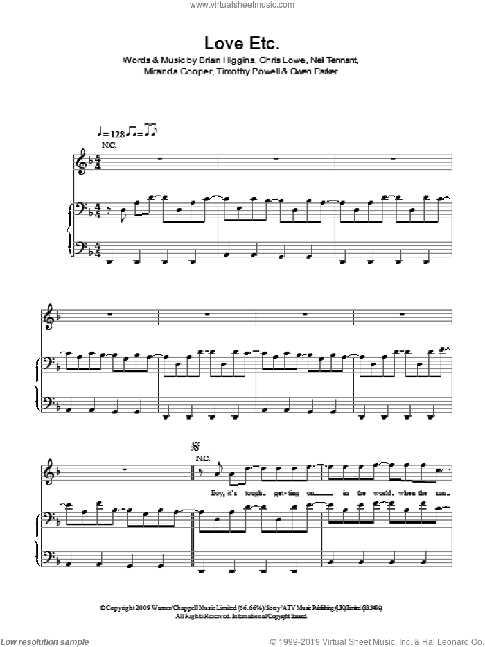 Love Etc. sheet music for voice, piano or guitar by The Pet Shop Boys, Brian Higgins, Chris Lowe, Miranda Cooper, Neil Tennant, Owen Parker and Timothy Powell, intermediate skill level