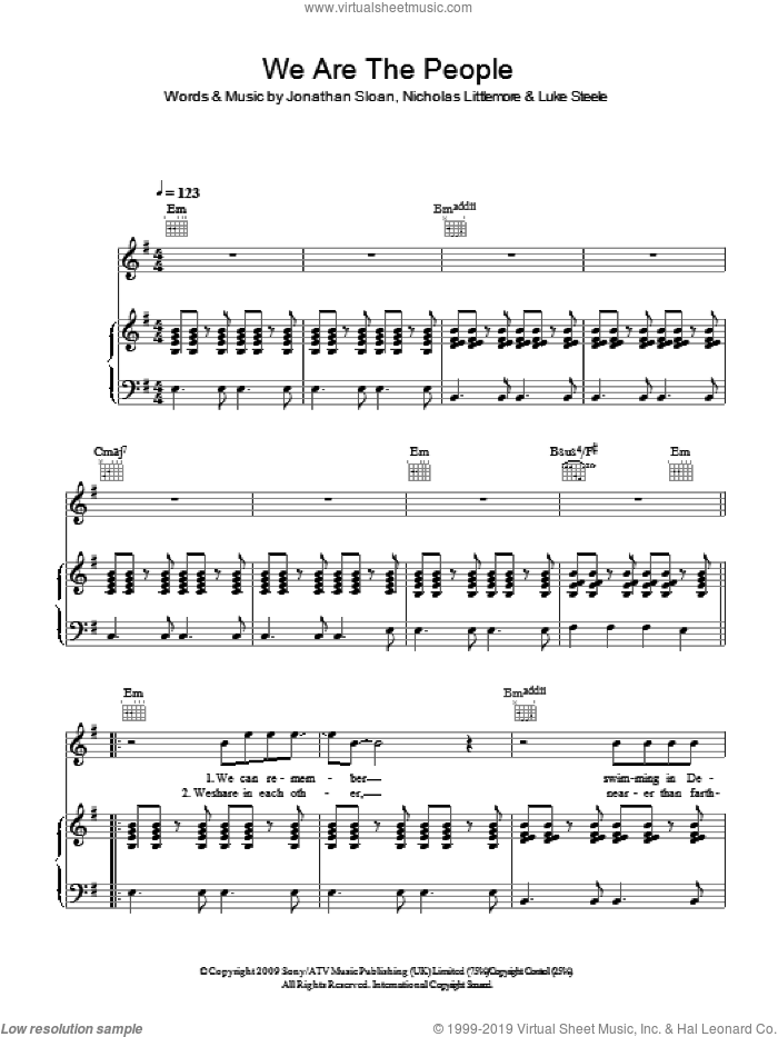 We Are The People sheet music for voice, piano or guitar by Jonathan Sloan, Luke Steele and Nicholas Littlemore