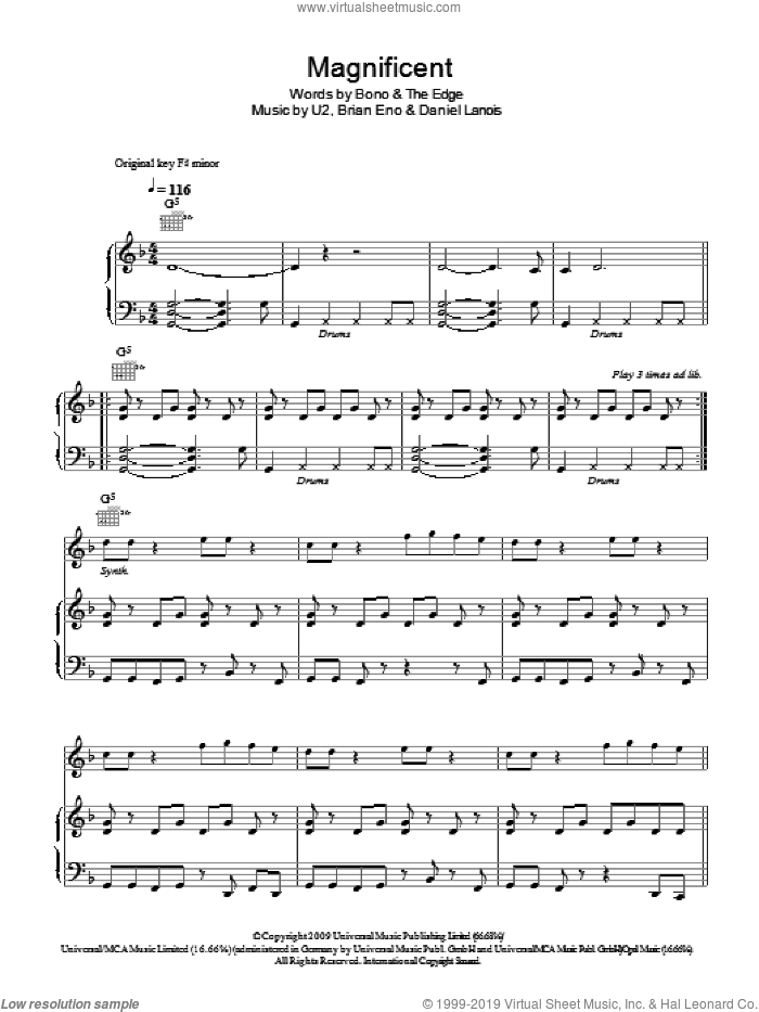 Magnificent sheet music for voice, piano or guitar by U2, Brian Eno, Daniel Lanois and Bono. Score Image Preview.