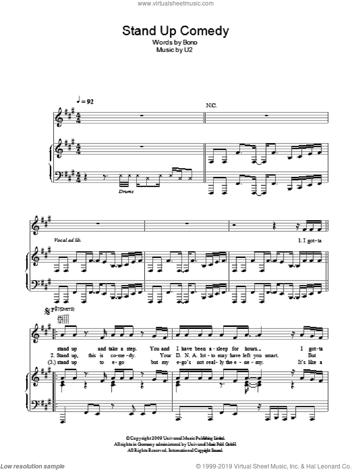 Stand Up Comedy sheet music for voice, piano or guitar by U2 and Bono, intermediate skill level