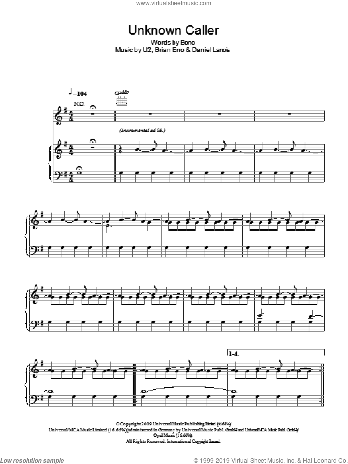 Unknown Caller sheet music for voice, piano or guitar by U2, Brian Eno, Daniel Lanois and Bono, intermediate