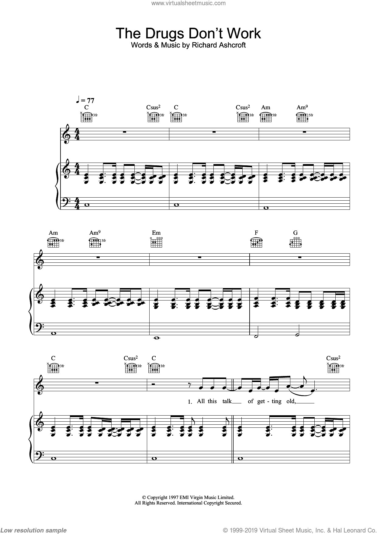 The Drugs Don't Work sheet music for voice, piano or guitar by The Verve and Richard Ashcroft, intermediate skill level