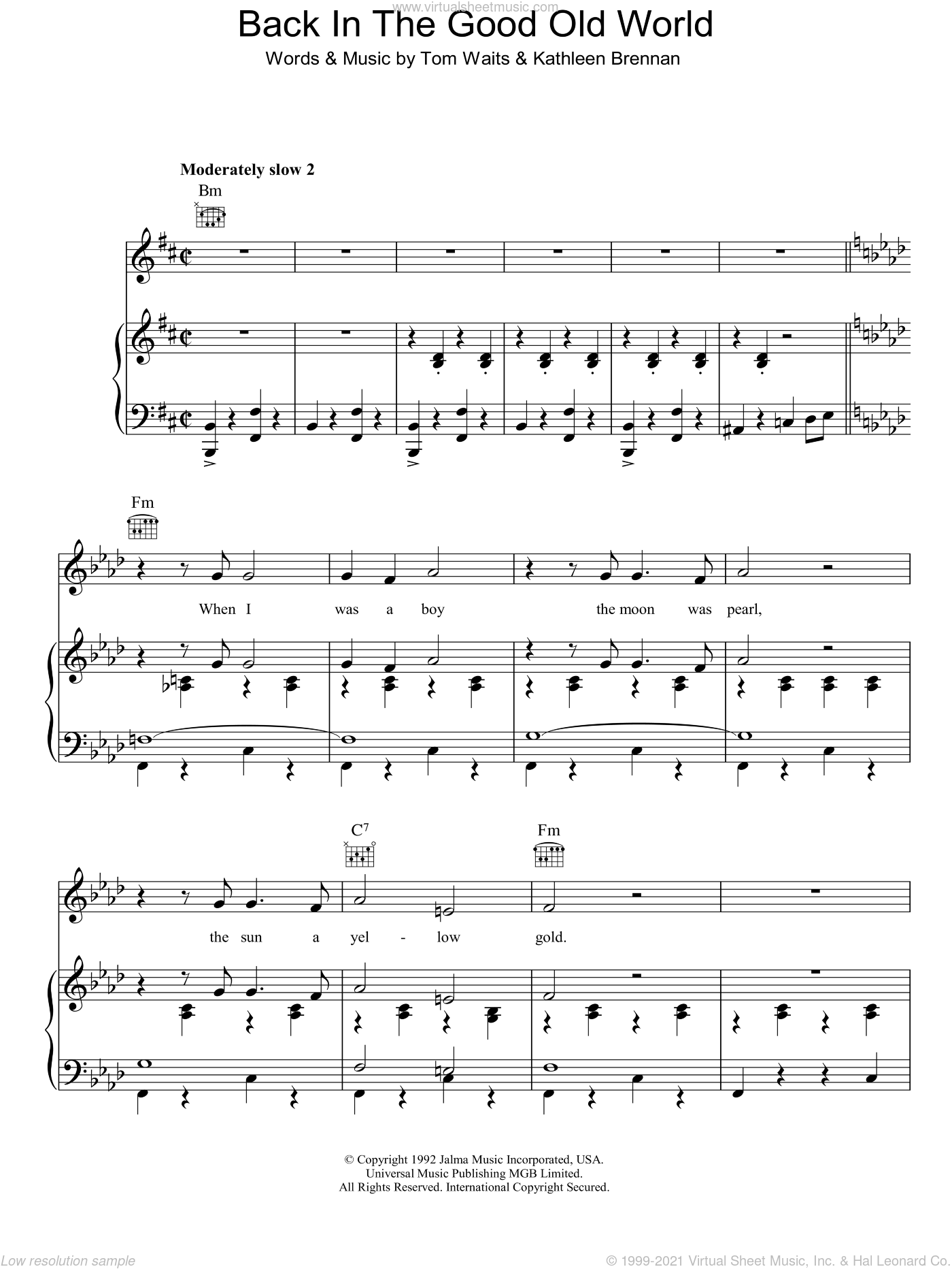Back In The Good Old World sheet music for voice, piano or guitar by Kathleen Brennan and Tom Waits. Score Image Preview.