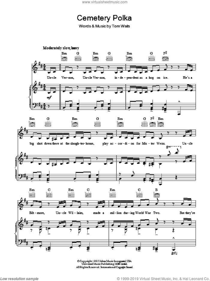 Cemetery Polka sheet music for voice, piano or guitar by Tom Waits, intermediate. Score Image Preview.