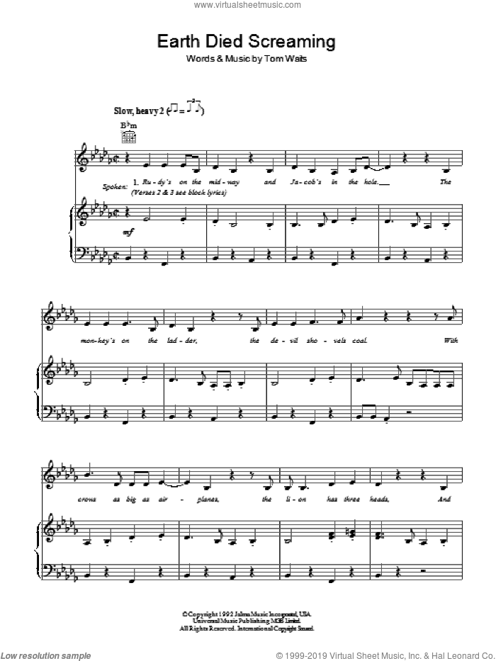 Earth Died Screaming sheet music for voice, piano or guitar by Tom Waits. Score Image Preview.