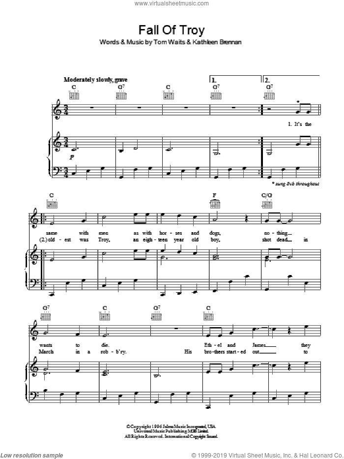 Fall Of Troy sheet music for voice, piano or guitar by Tom Waits, intermediate voice, piano or guitar. Score Image Preview.