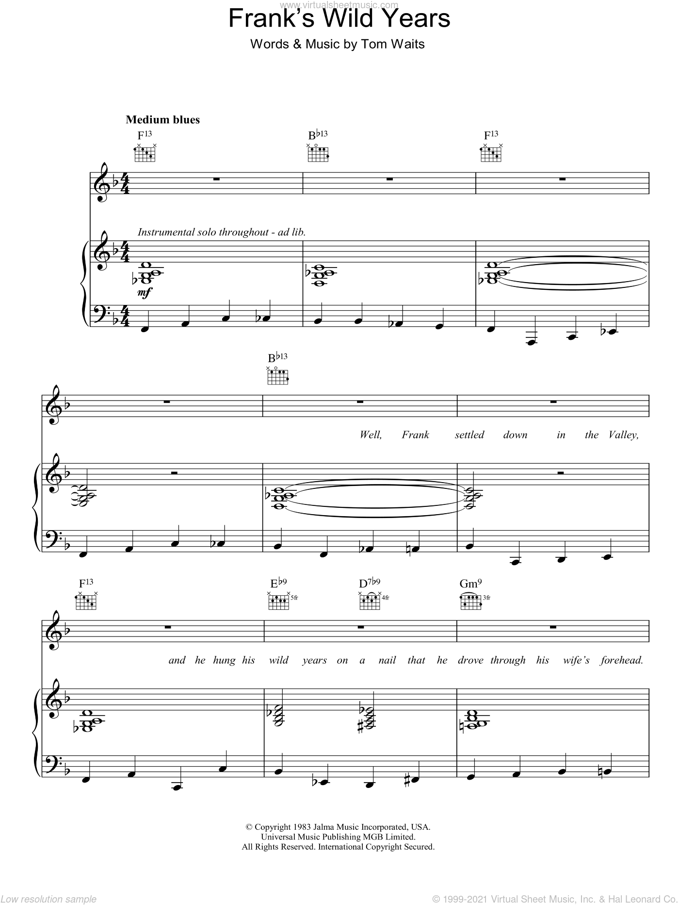 Frank's Wild Years sheet music for voice, piano or guitar by Tom Waits