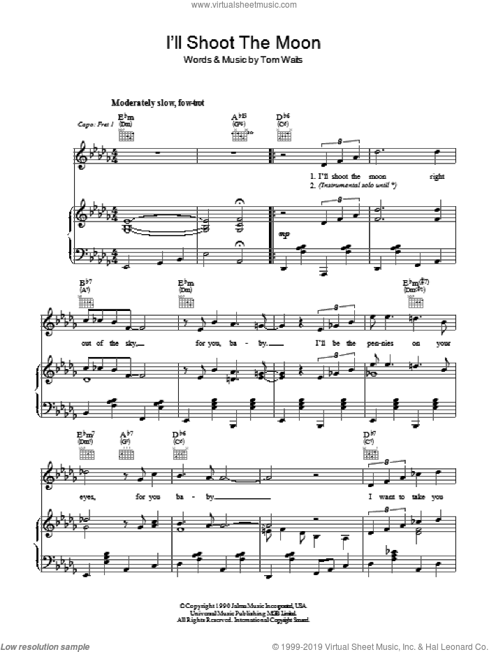 I'll Shoot The Moon sheet music for voice, piano or guitar by Tom Waits. Score Image Preview.