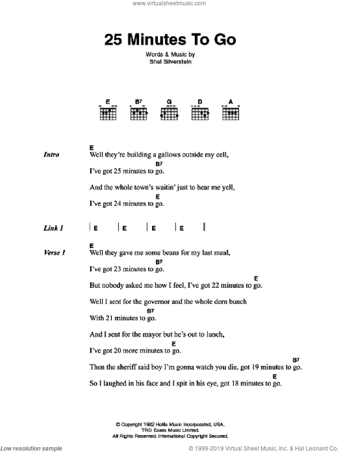 25 Minutes To Go sheet music for guitar (chords) by Johnny Cash and Shel Silverstein, intermediate