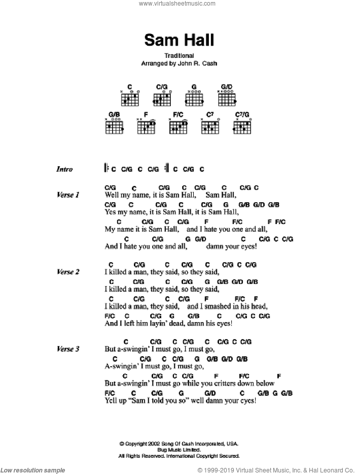 Sam Hall sheet music for guitar (chords) by Johnny Cash. Score Image Preview.