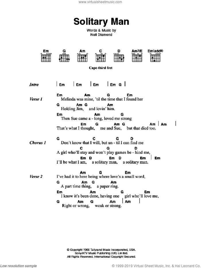 Solitary Man sheet music for guitar (chords) by Neil Diamond