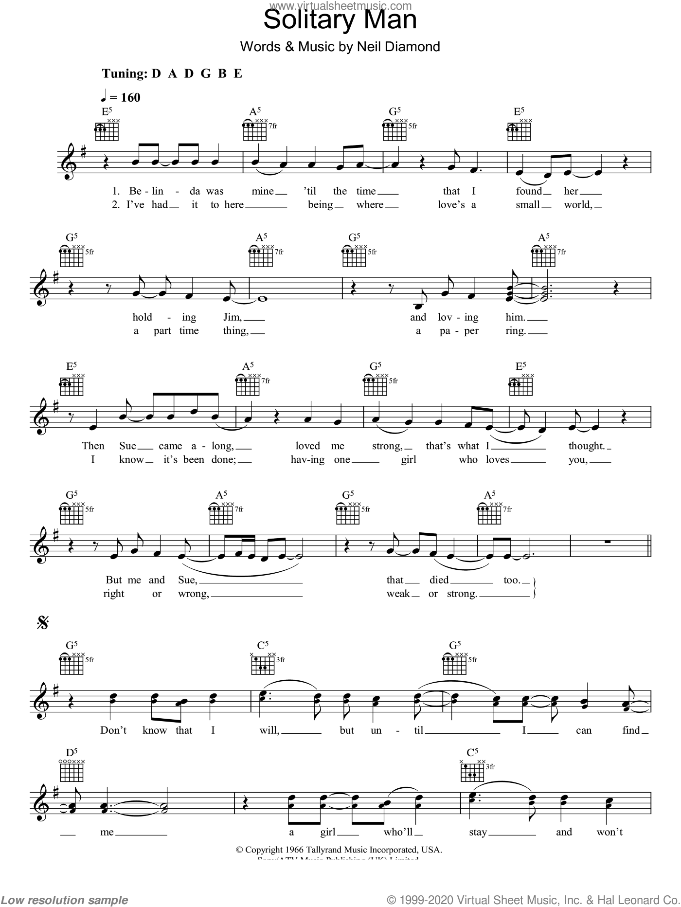 Solitary Man sheet music for voice and other instruments (fake book) by Neil Diamond, intermediate skill level