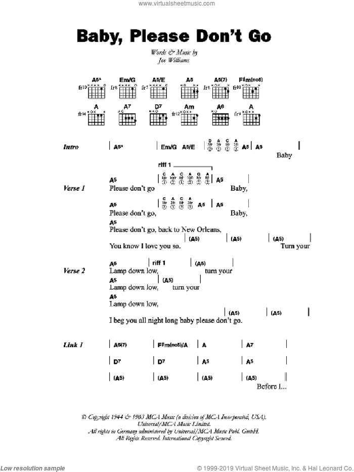 Baby, Please Don't Go sheet music for guitar (chords) by Big Joe Williams and Joe Williams, intermediate skill level