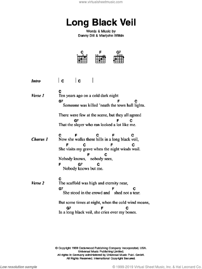 Long Black Veil sheet music for guitar (chords) by Johnny Cash, intermediate. Score Image Preview.