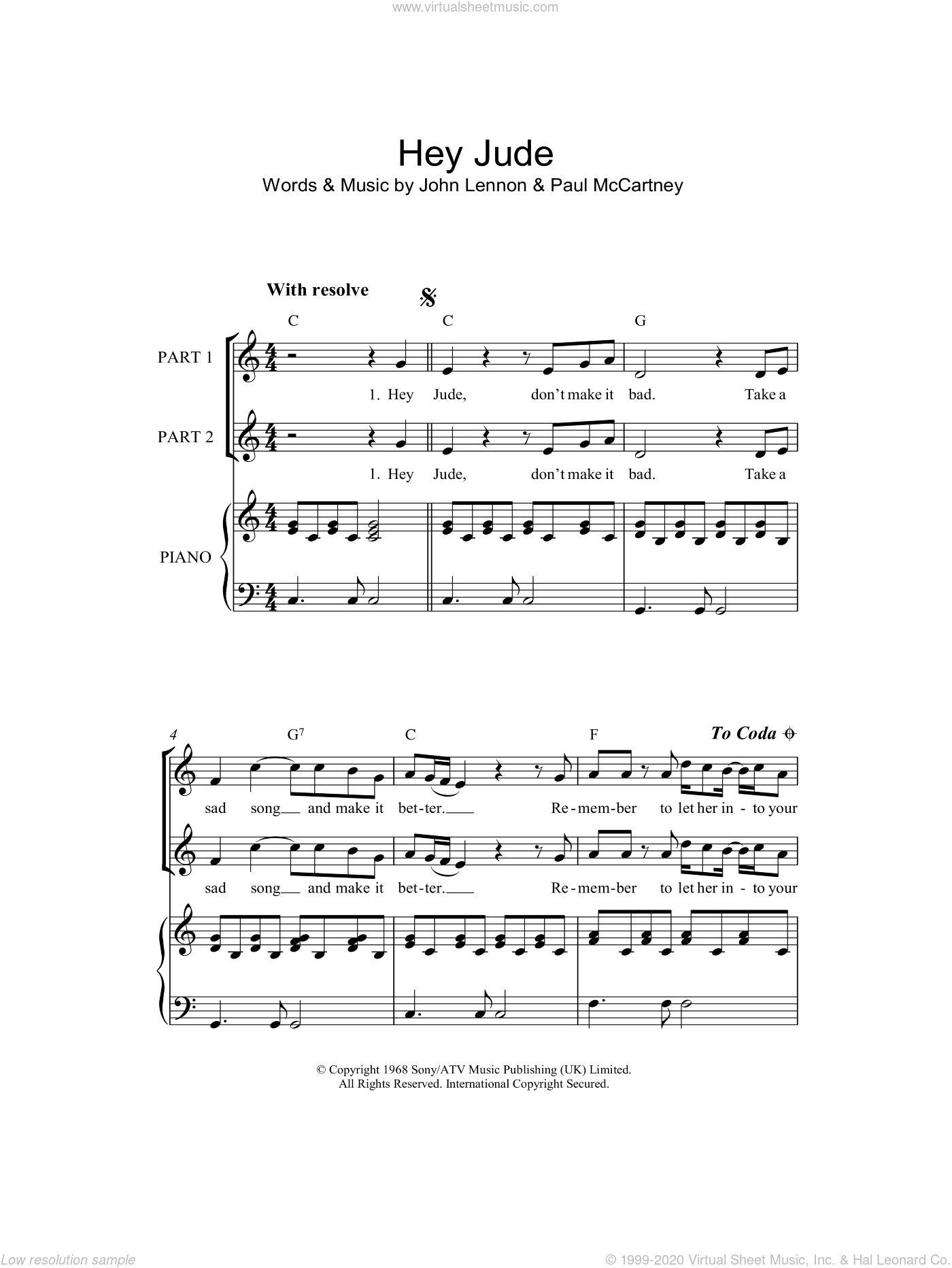 Hey Jude sheet music for choir and piano by John Lennon