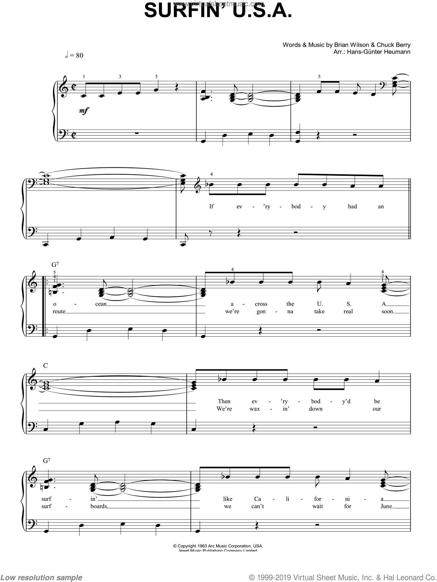 Surfin' U.S.A. sheet music for piano solo by The Beach Boys, Brian Wilson and Chuck Berry, easy. Score Image Preview.