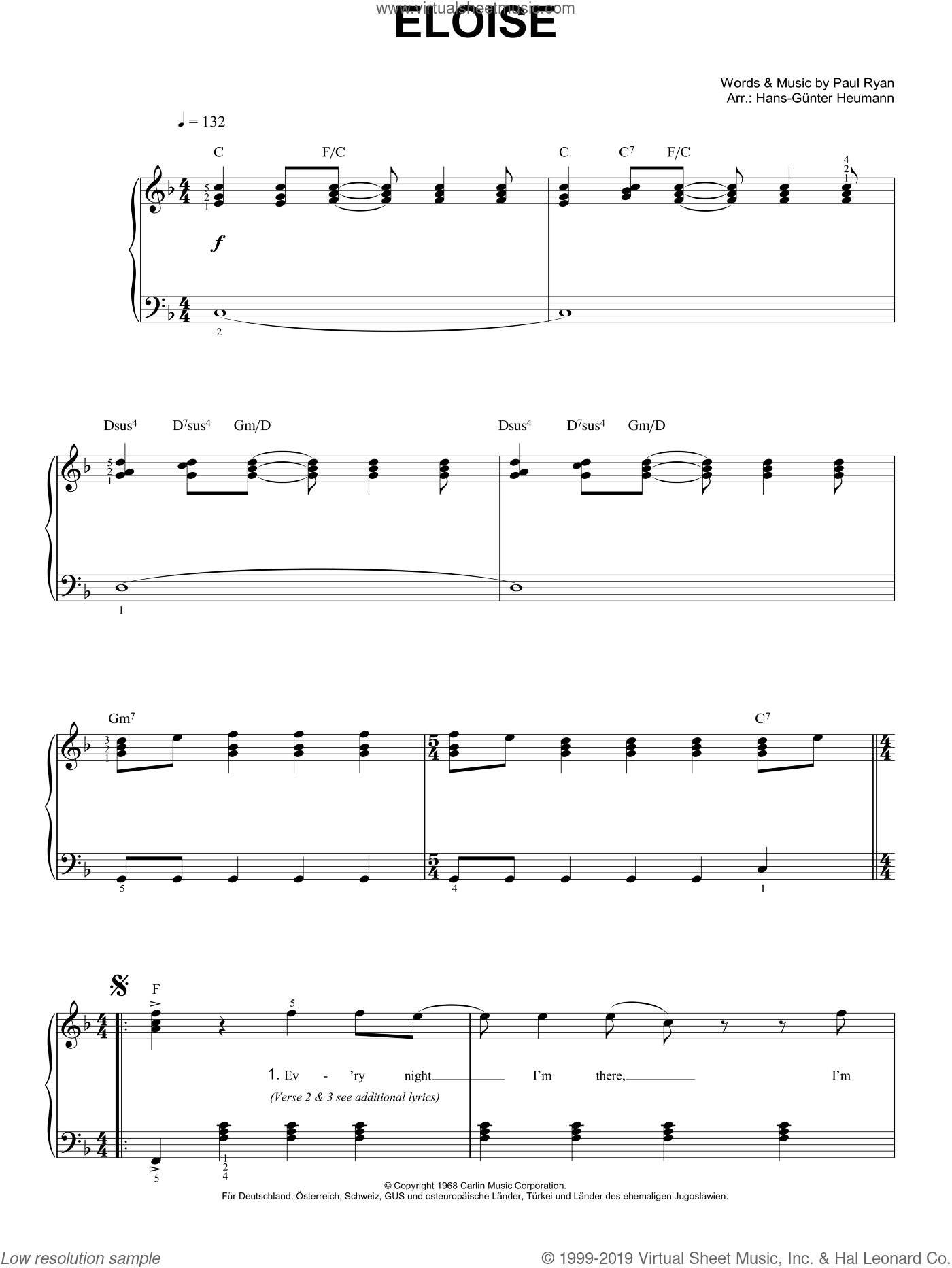 Eloise sheet music for piano solo by Barry Ryan and Hans-Gunter Heumann. Score Image Preview.