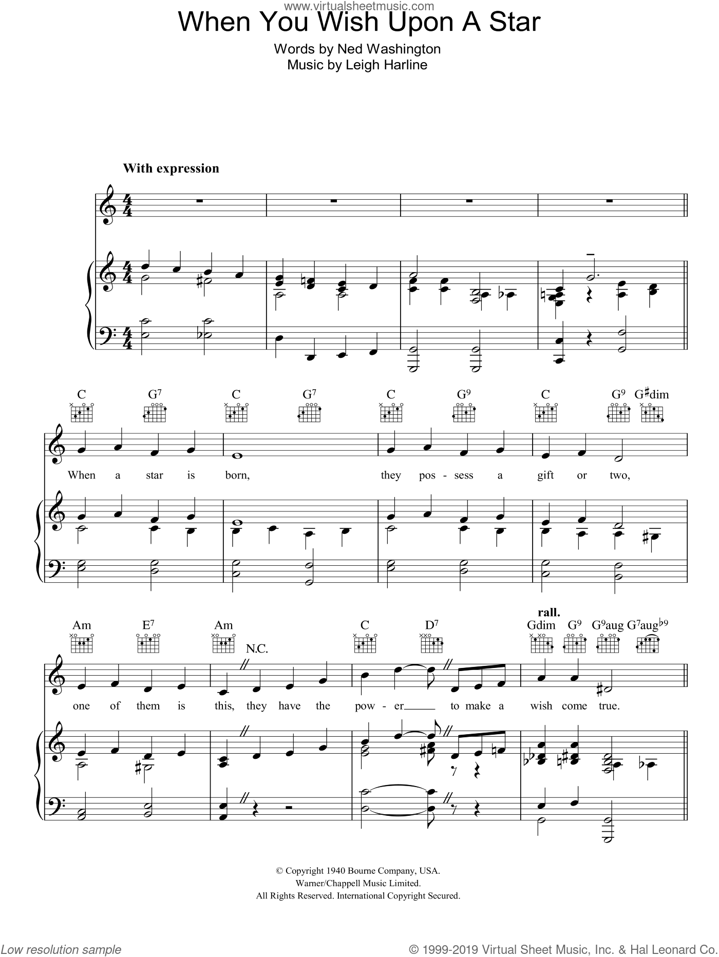 When You Wish Upon A Star (from Disney's Pinocchio) sheet music for voice, piano or guitar by Cliff Edwards, Leigh Harline and Ned Washington, intermediate skill level