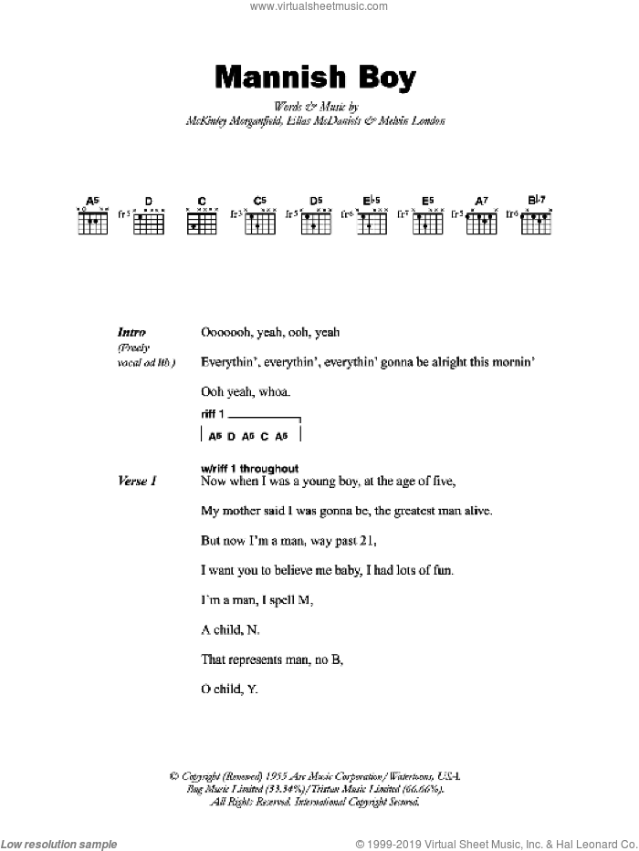 Mannish Boy sheet music for guitar (chords) by Muddy Waters, Ellas McDaniels, McKinley Morganfield and Melvin London, intermediate skill level