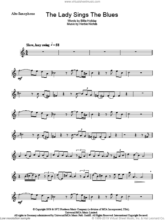 The Lady Sings The Blues sheet music for voice and other instruments (fake book) by Billie Holiday and Herbie Nichols, intermediate