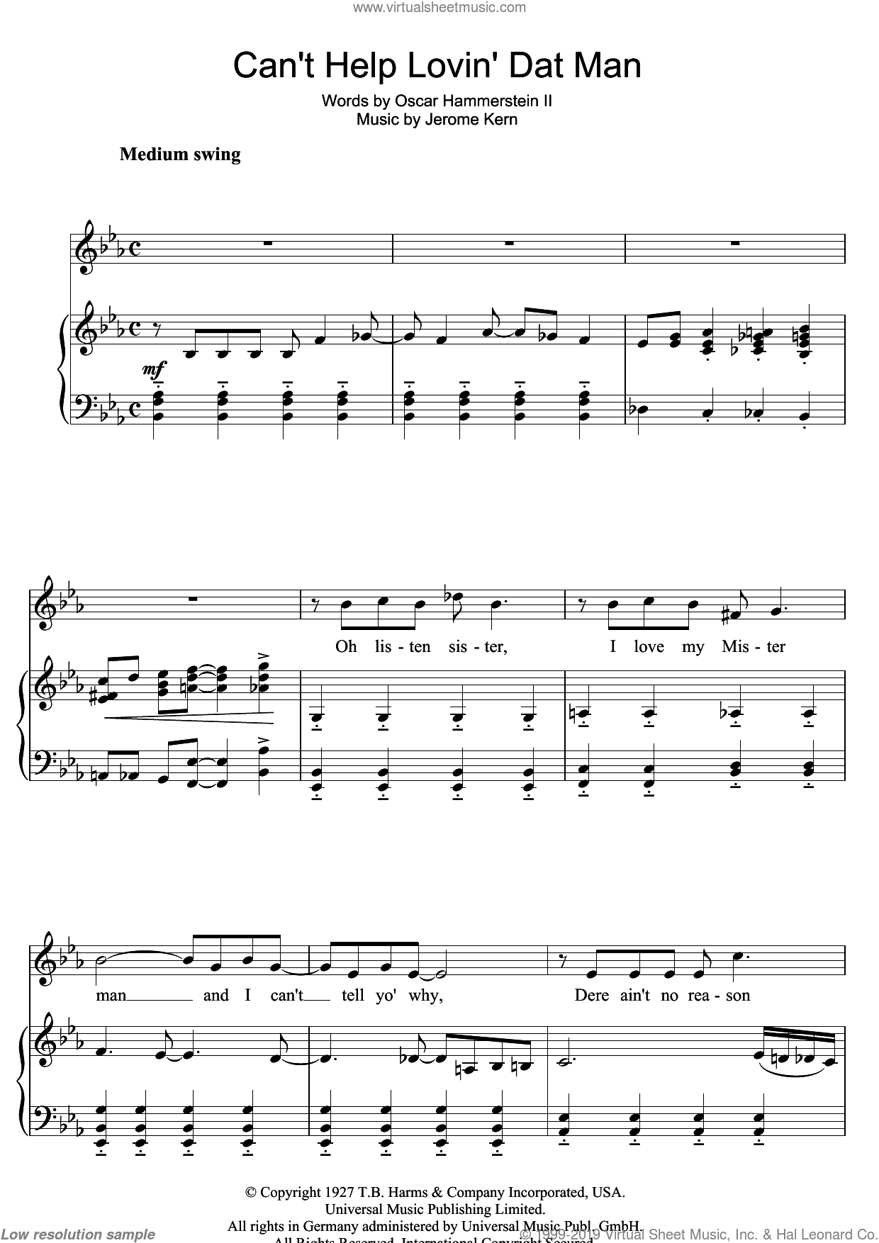 Can't Help Lovin' Dat Man sheet music for voice and piano by Jerome Kern, Show Boat (Musical) and Oscar II Hammerstein, intermediate skill level