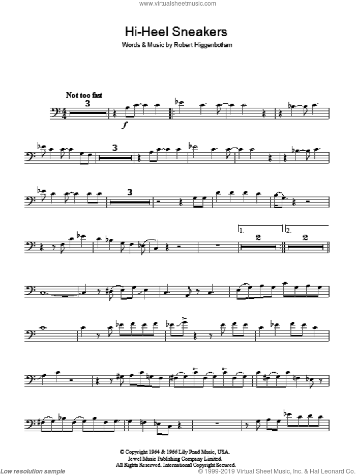 Hi-Heel Sneakers sheet music for voice, piano or guitar by Tommy Tucker and Robert Higginbotham, intermediate