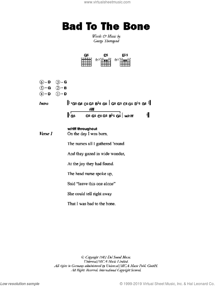 Bad To The Bone sheet music for guitar (chords) by George Thorogood. Score Image Preview.