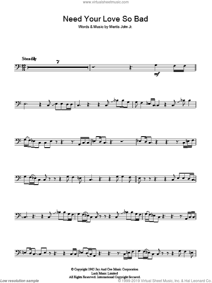 Need Your Love So Bad sheet music for voice, piano or guitar by Fleetwood Mac and Mertis John Jr., intermediate skill level