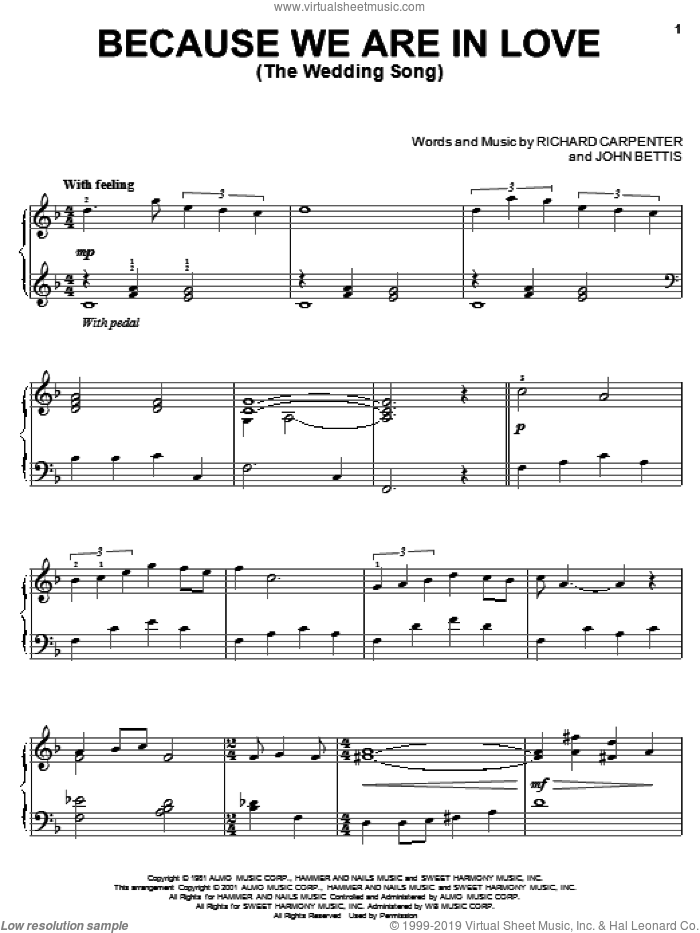 Because We Are In Love (The Wedding Song) sheet music for piano solo by Carpenters, John Bettis and Richard Carpenter, wedding score, intermediate skill level