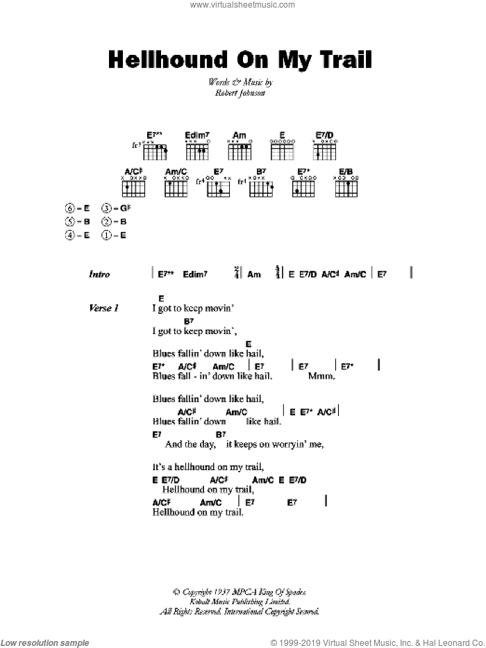 Hellhound On My Trail sheet music for guitar (chords) by Robert Johnson