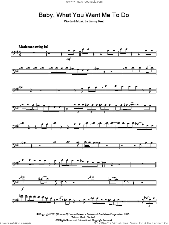 Baby, What You Want Me To Do sheet music for voice, piano or guitar by Jimmy Reed. Score Image Preview.
