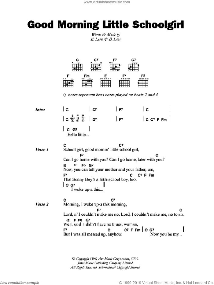 Good Morning Little Schoolgirl sheet music for guitar (chords) by B. Level and Sonny Boy Williamson. Score Image Preview.