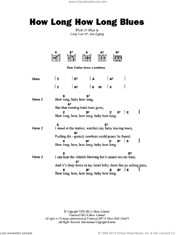How Long How Long Blues sheet music for guitar (chords, lyrics, melody) by Leroy Carr