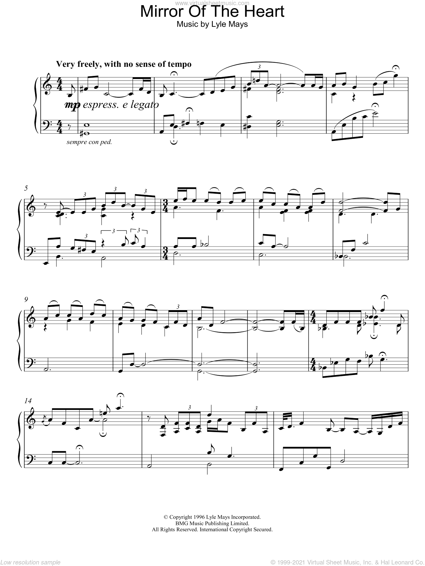 Mirror Of The Heart sheet music for piano solo by Lyle Mays. Score Image Preview.