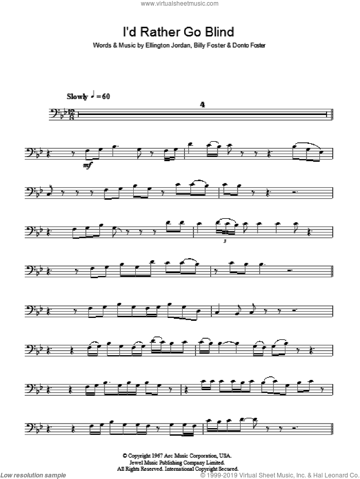 I'd Rather Go Blind sheet music for voice, piano or guitar by Billy Foster