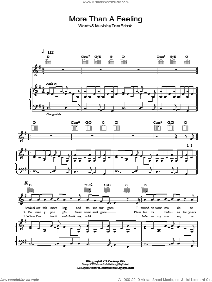 More Than A Feeling sheet music for voice, piano or guitar by Boston and Tom Scholz, intermediate skill level