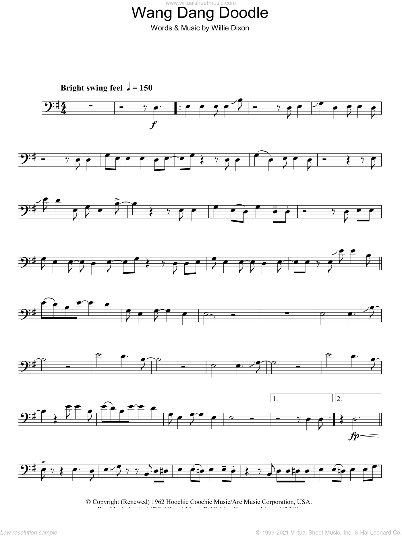 Wang Dang Doodle sheet music for voice, piano or guitar by Willie Dixon. Score Image Preview.