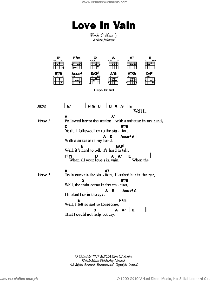 Love In Vain Blues sheet music for guitar (chords) by Robert Johnson, intermediate. Score Image Preview.