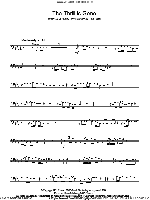 The Thrill Is Gone sheet music for bass (tablature) (bass guitar) by Rick Darnell, B.B. King and Roy Hawkins. Score Image Preview.