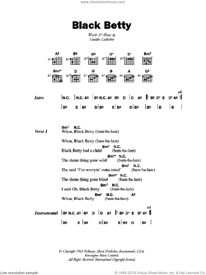 Black Betty sheet music for guitar (chords) by Huddie Ledbetter. Score Image Preview.