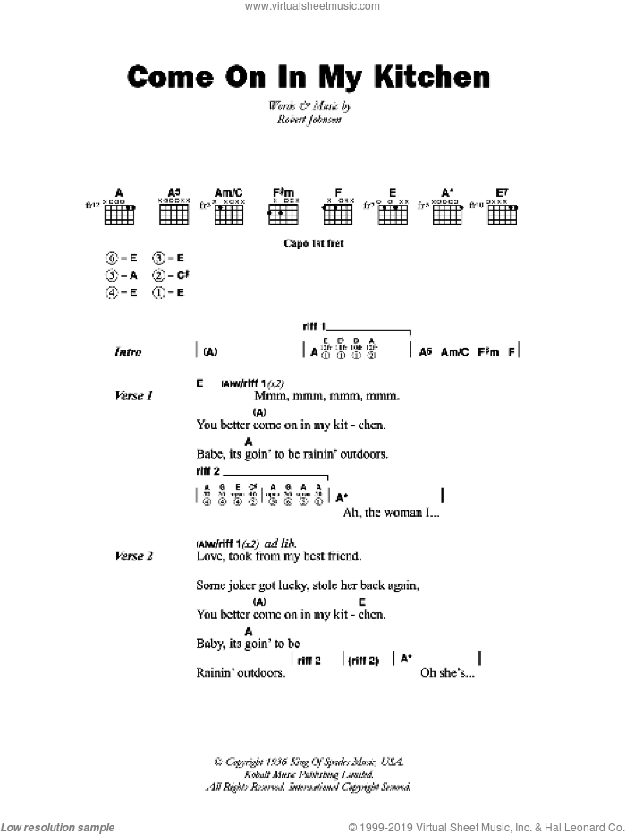 Come On In My Kitchen sheet music for guitar (chords) by Robert Johnson. Score Image Preview.