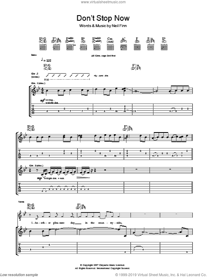 Don't Stop Now sheet music for guitar (tablature) by Neil Finn