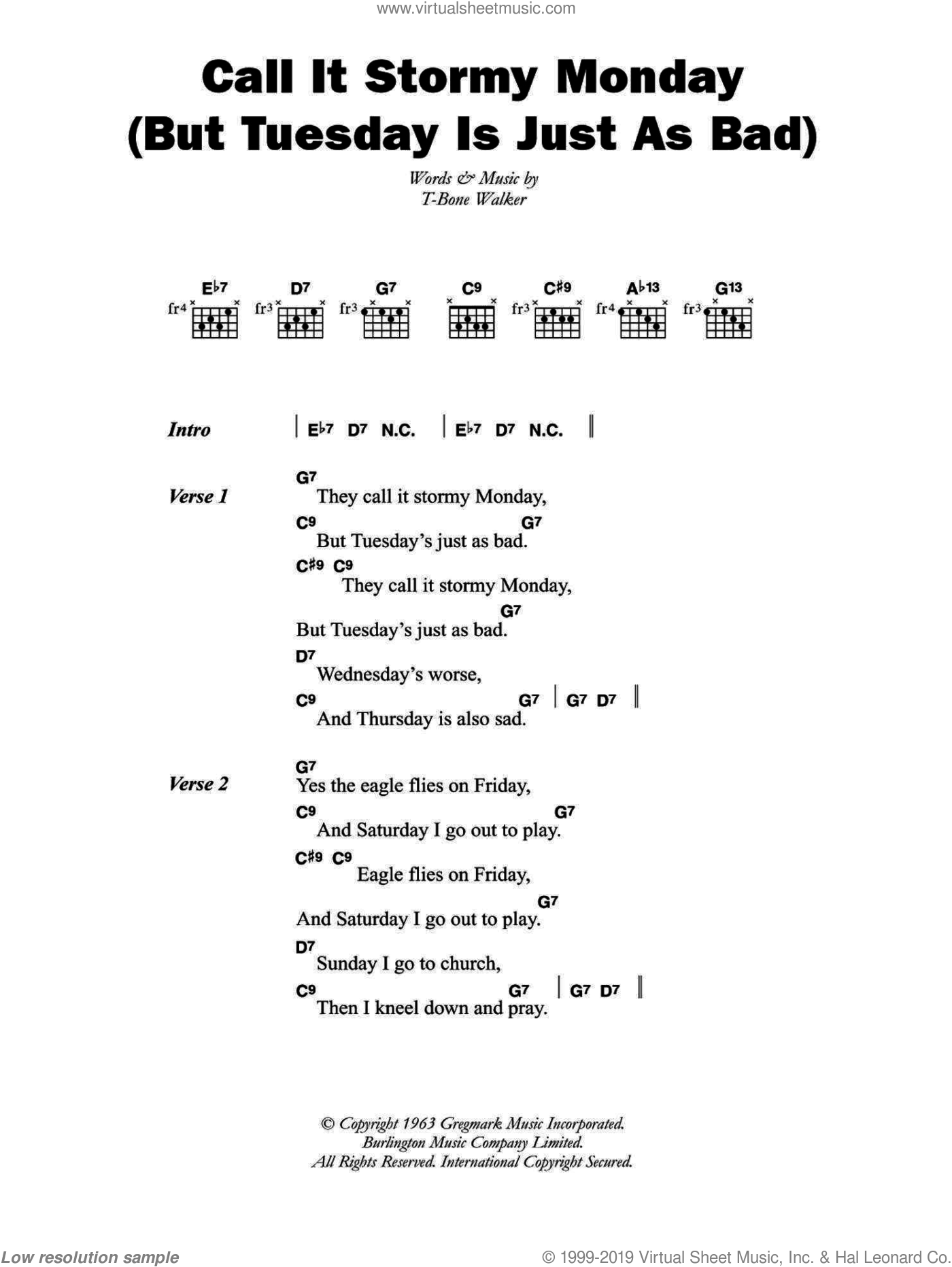 Call It Stormy Monday (But Tuesday Is Just As Bad) sheet music for guitar (chords) by Aaron 'T-Bone' Walker, intermediate skill level