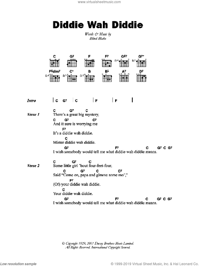 Diddie Wah Diddie sheet music for guitar (chords) by Blind Blake and Arthur Blake, intermediate. Score Image Preview.