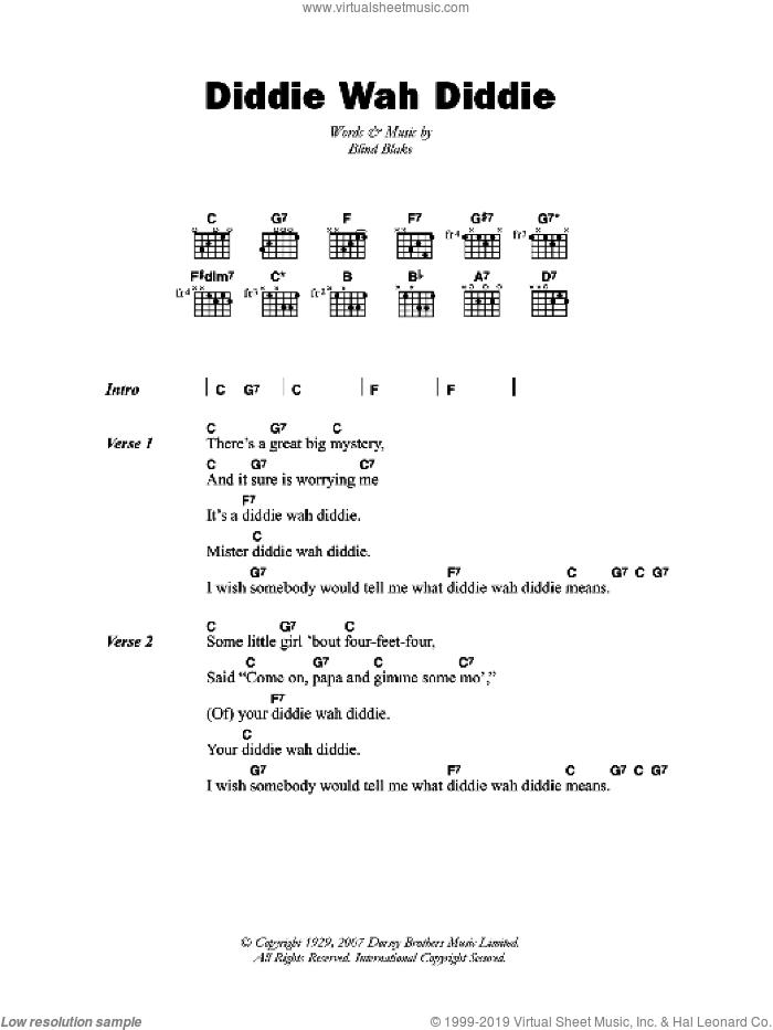 Diddie Wah Diddie sheet music for guitar (chords) by Blind Blake and Arthur Blake, intermediate skill level