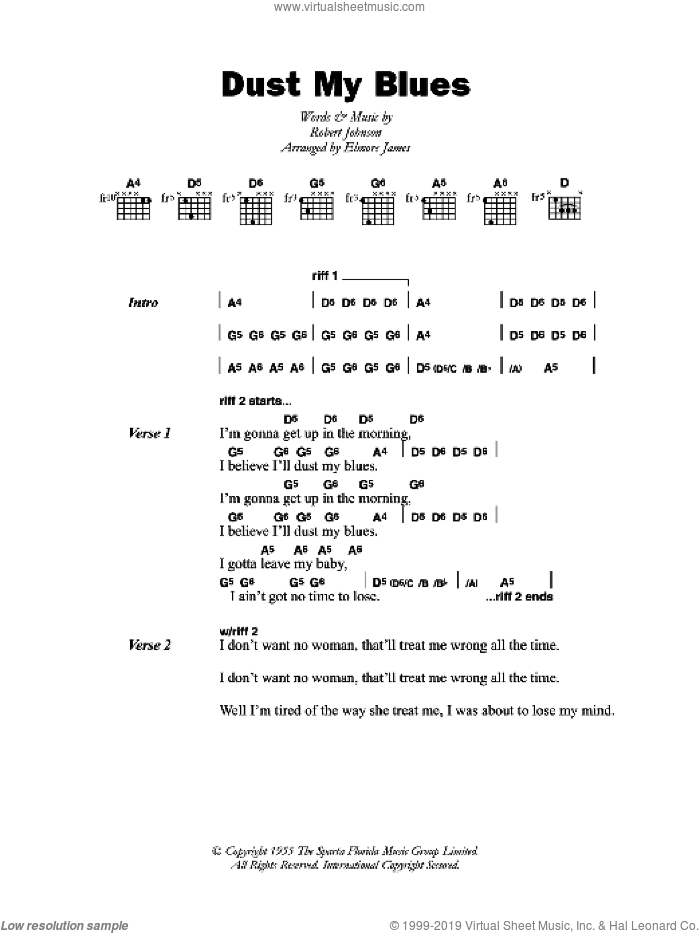 Dust My Blues sheet music for guitar (chords) by Elmore James and Robert Johnson. Score Image Preview.
