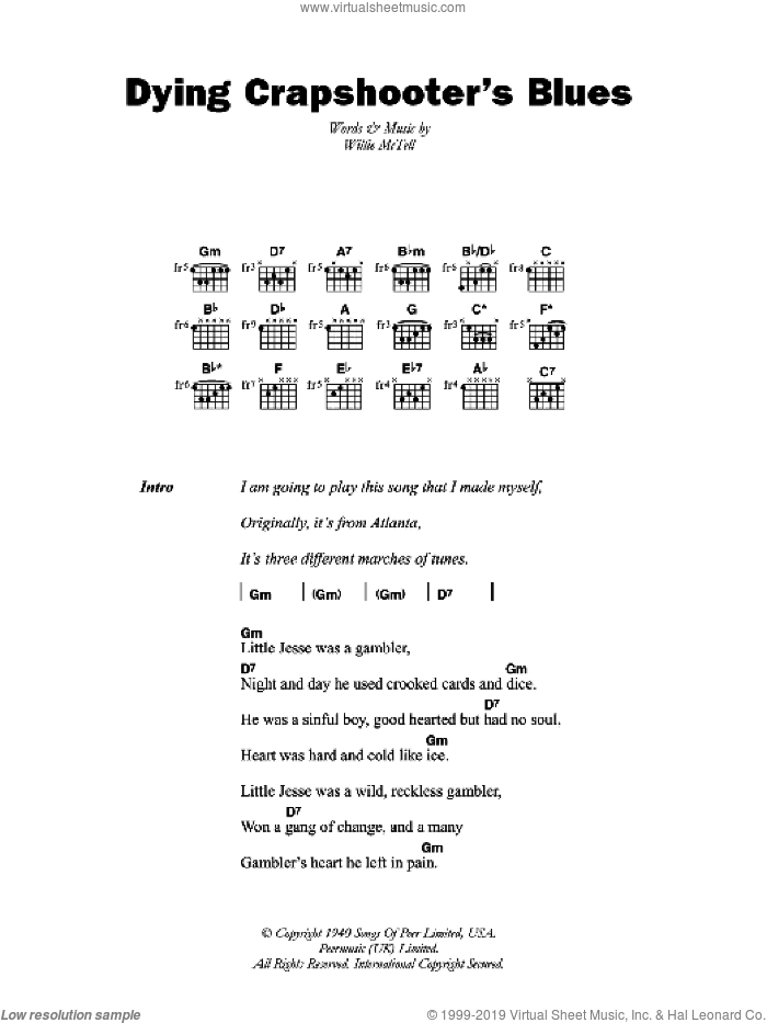 McTell - Dying Crapshooter\'s Blues sheet music for guitar (chords)